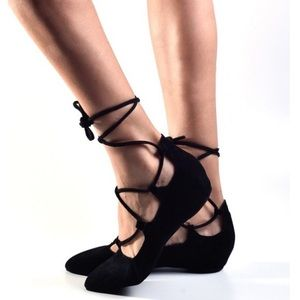 Jeffrey Campbell lace up suede flats